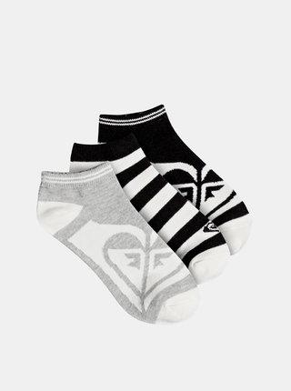 Sada troch párov ponožiek v šedej a čiernej farbe Roxy