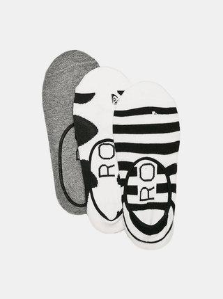 Sada troch párov ponožiek v bielej a čiernej farbe Roxy