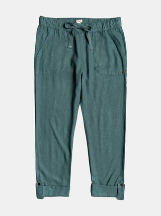 Zelené skrátené ľanové nohavice Roxy