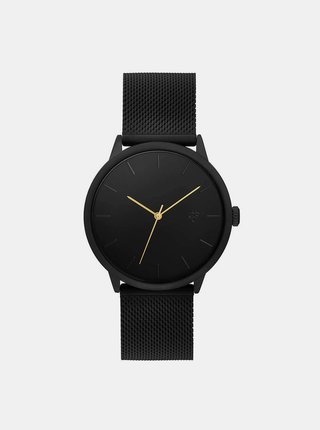 Černé hodinky s nerezovým páskem CHPO Nando