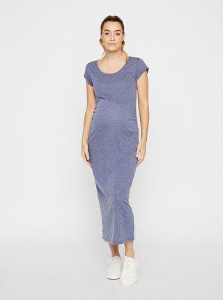 Modré tehotenské basic maxišaty s prímesou ľanu Mama.licious