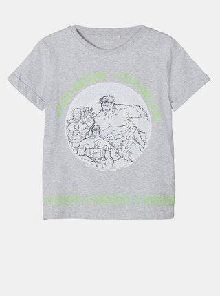 Šedé chlapčenské tričko s magickými flitrami name it
