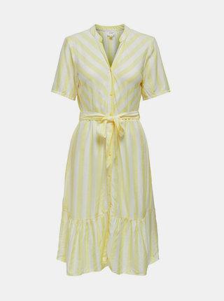 Bielo-žlté pruhované šaty Jacqueline de Yong