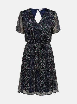 Tmavě modré květované šaty Jacqueline de Yong