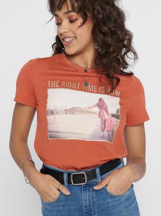 Cihlové tričko ONLY