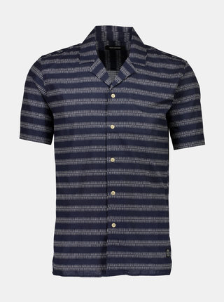 Tmavomodrá vzorovaná košeľa s prímesou ľanu Shine Original
