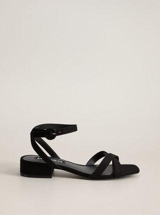 Černé sandálky v semišové úpravě Mango Lucas