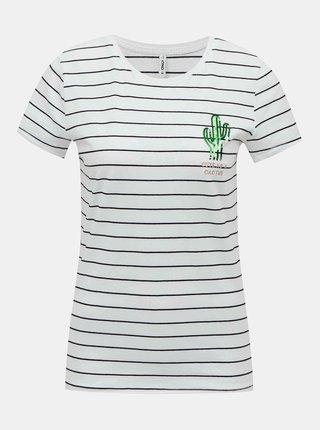 Bílé pruhované tričko ONLY