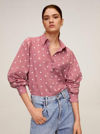Růžová puntíkovaná košile Mango Topu