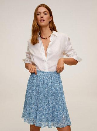 Modrá květovaná plisovaná sukně Mango Mauri