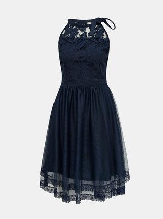 Tmavomodré krajkové šaty VILA Zinna
