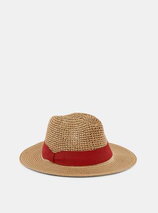 Hnědý slaměný klobouk Pieces Norma
