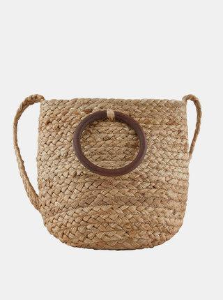 Hnedá jutová kabelka Pieces Nita