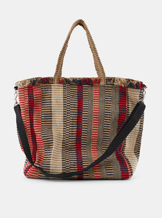 Červeno-béžová vzorovaná jutová taška Pieces Nela
