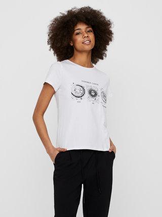 Biele tričko s potlačou Noisy May Nate