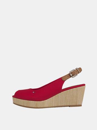 Červené sandálky na klínku Tommy Hilfiger