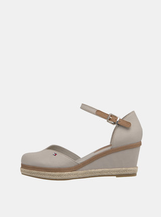 Béžové sandálky na plnom podpätku Tommy Hilfiger