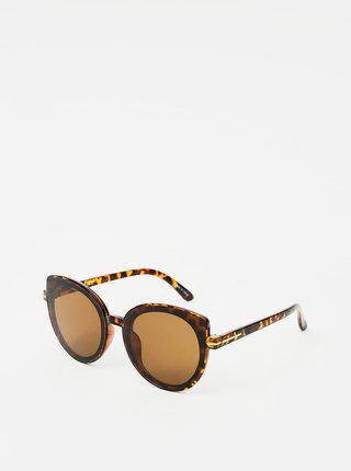 Hnedé vzorované slnečné okuliare Pieces Natalia