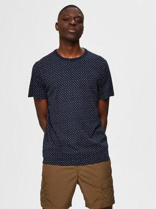 Tmavě modré vzorované tričko Selected Homme Brawley