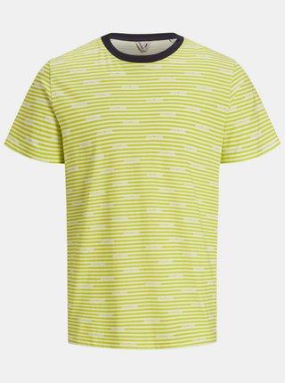 Žlté vzorované tričko Jack & Jones Miks