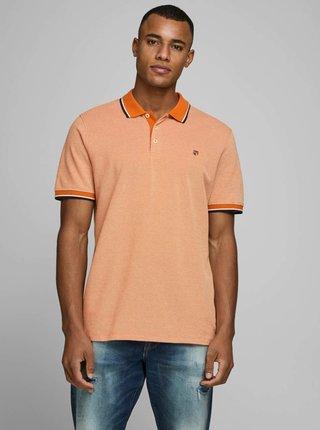 Oranžová polokošeľa Jack & Jones Bluwin