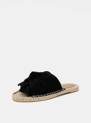 Černé jutové pantofle Pieces Alira