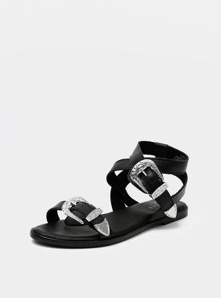 Černé kožené sandály Pieces Adine