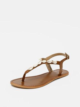 Hnedé kožené sandále Pieces Aggies