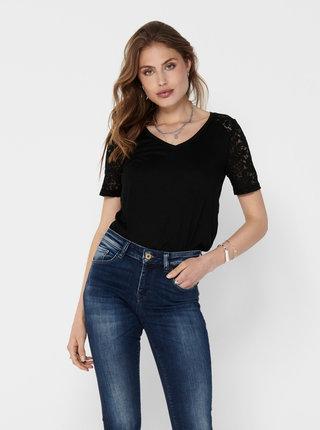 Černé tričko s krajkou Jacqueline de Yong Stinne