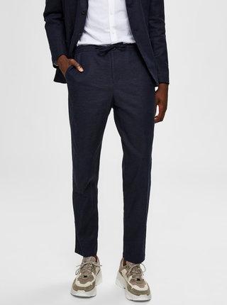 Tmavě modré lněné slim fit kalhoty Selected Homme Dave