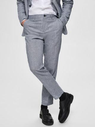 Svetlomodré slim fit nohavice s prímesou ľanu Selected Homme Will
