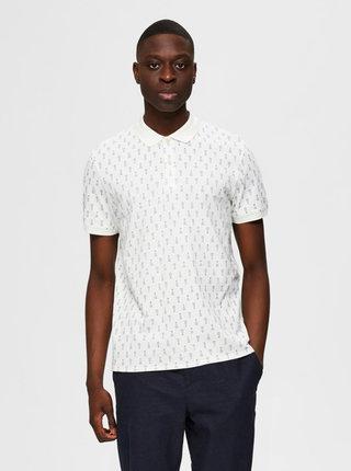 Bílé vzorované polo tričko Selected Homme Dixon