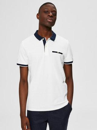 Bílé polo tričko Selected Homme Patterson