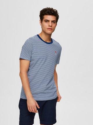 Modré pruhované tričko Selected Homme Wayne