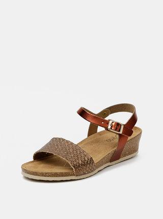 Hnedé dámske kožené lesklé sandálky OJJU