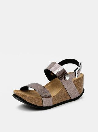 Šedohnědé dámské lesklé sandálky s krokodýlím vzorem OJJU