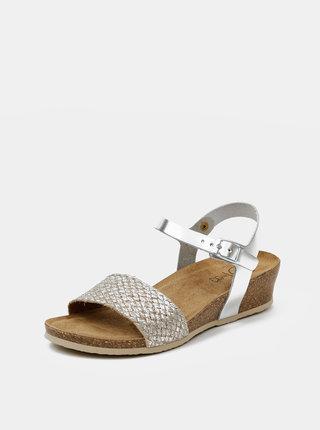 Dámské kožené lesklé sandálky ve stříbrné barvě OJJU