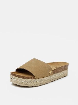 Béžové dámské semišové pantofle OJJU