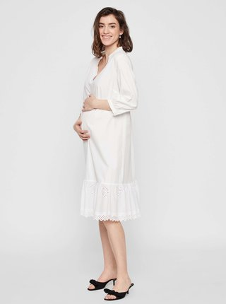 Bílé těhotenské midišaty Mama.licious Grazie