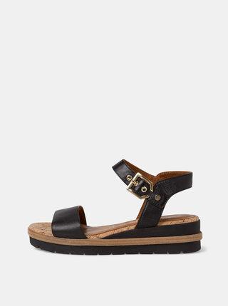 Čierne kožené sandálky na platforme Tamaris