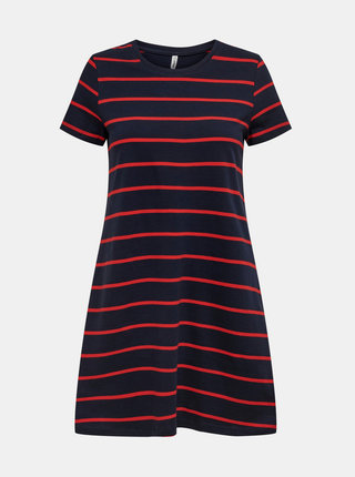 Červeno-modré pruhované basic šaty ONLY May