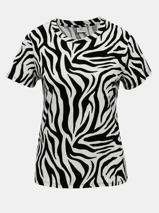 Krémovo-černé tričko se zebřím vzorem Jacqueline de Yong Diana