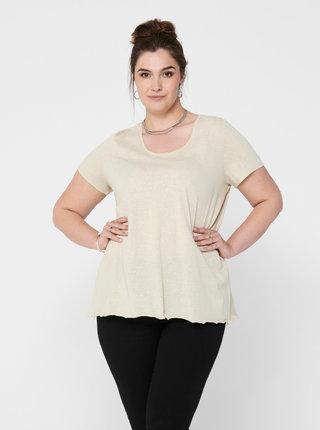 Béžové basic tričko ONLY CARMAKOMA Glitter