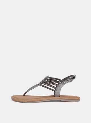 Šedé kožené sandály s korálky Tamaris