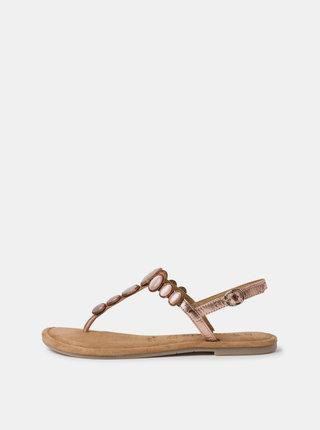 Růžové kožené sandály s ozdobnými detaily Tamaris