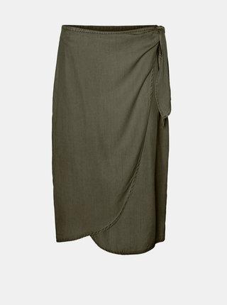 Khaki zavinovací sukně VERO MODA Laura
