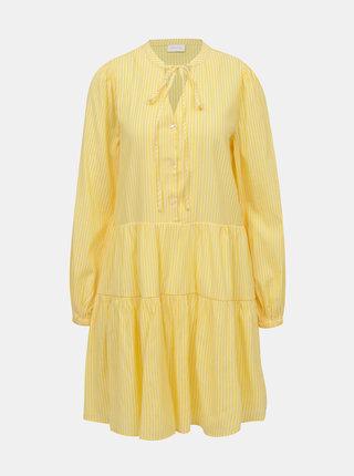 Žlté pruhované voľné šaty VILA Binni