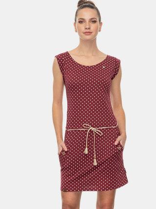 Vínové bodkované šaty Ragwear Tag Dots