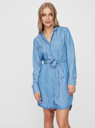 Modré rifľové košeľové šaty VERO MODA Lisa