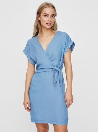 Modré rifľové zavinovacie šaty VERO MODA Lisa